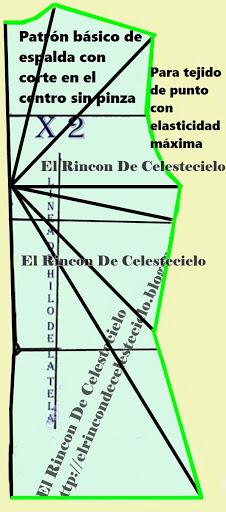 Patrón de espalda con corte en el centro ajustado para telas en tejido de punto