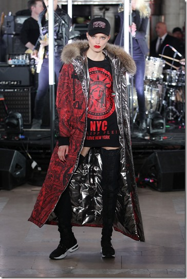 NEW YORK, NY - FEBRUARY 13:  A model walks the runway wearing look #13 for the Philipp Plein Fall/Winter 2017/2018 Women's And Men's Fashion Show at The New York Public Library on February 13, 2017 in New York City.  (Photo by Thomas Concordia/Getty Images for Philipp Plein)