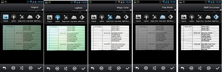 Modus Enhancing, dari kiri ke kanan, Original, Lighten, Magic Color, Gray Mode, BW Document