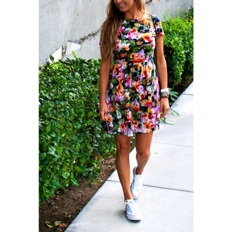 Asos floral skater dress and converse