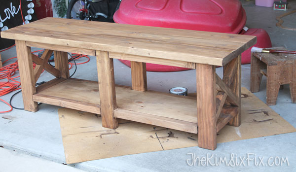Wooden bench from 2x4s