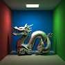 As you can probably tell, this was an overnight render (around 300 samples per pixel in ~5 hours). I was going for a metallic reflective look for the dragon's material. This was also after I implemented area lights; they result in softer shadow edges (penumbras).