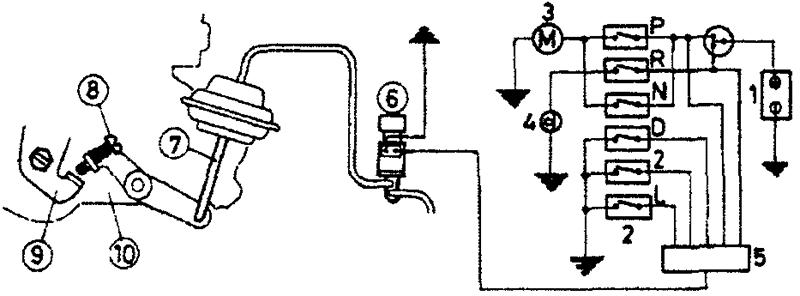Схема системы стабилизации частоты вращения коленчатого вала при холостом ходе (однопозиционная - модели с автоматической коробкой передач)