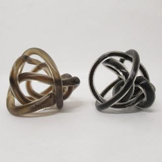 Art Glass Knot Sculpture Pair