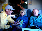 Dave on the train with tour operators Ann and Sam.