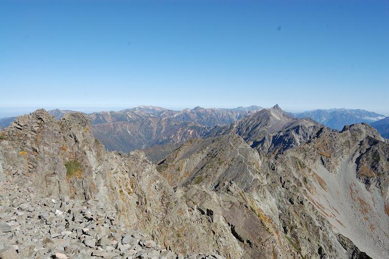 奥穂高岳から槍ヶ岳方面
