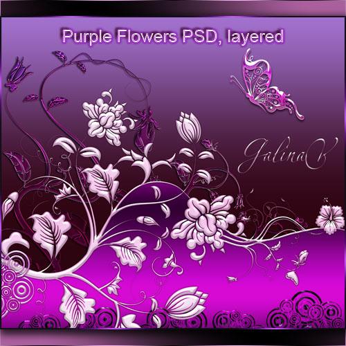 PSD исходник - Пурпурные цветы