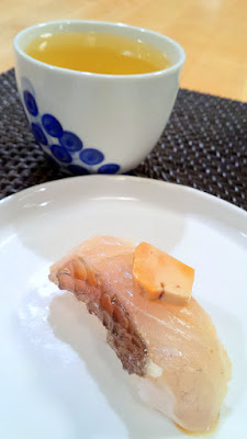 Poached Monkfish liver over sea bream cured with kelp (Konbu jime) with the Senkoma Koma Colt Sake