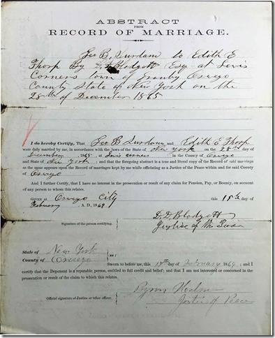 THORP_Edith marriage to George B SURDAM_28 Dec 1865_OswegoNewYork_pg 1 of 2