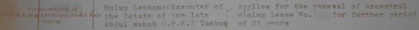 Executor of the estate of Dato Panglima Kinta Abdul Wahab