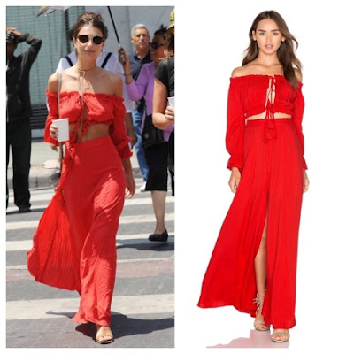 Emily Ratajkowski in Red Majorelle Sangria Off the Shoulder Button Up Crop Top and Maxi Skirt