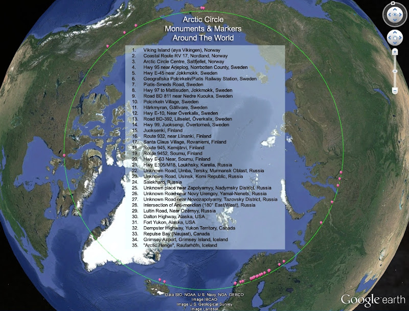 Arctic Circle Monuments  Markers Around The World  Google