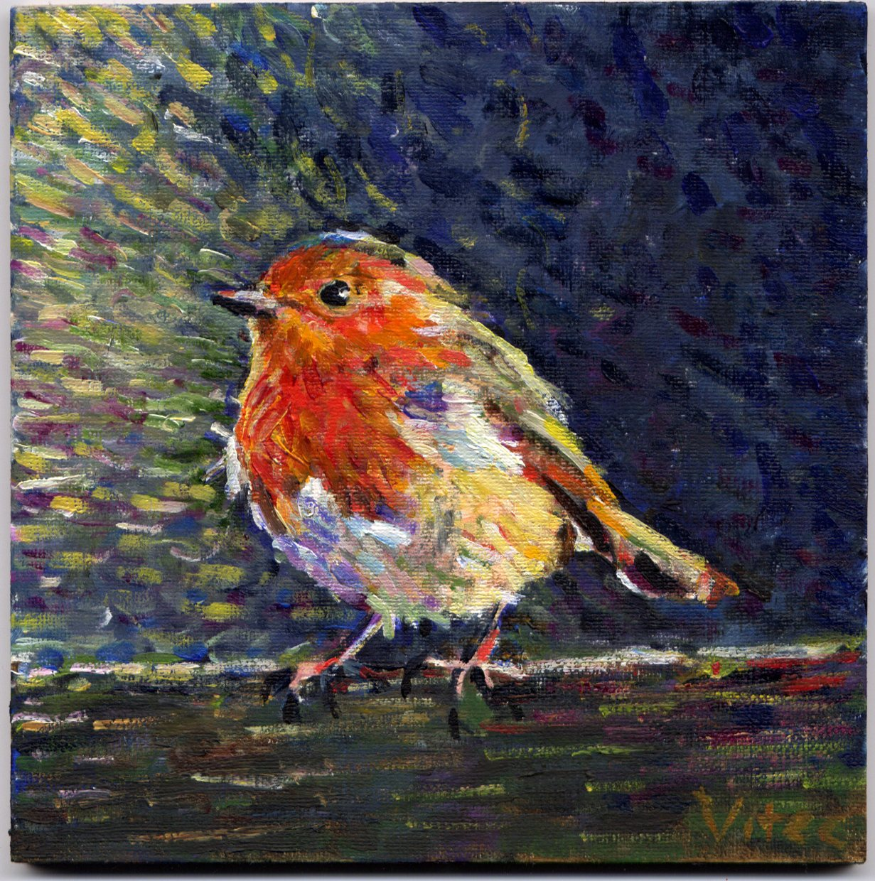 Birds painting by Vitec: Two birds Wren and Robin