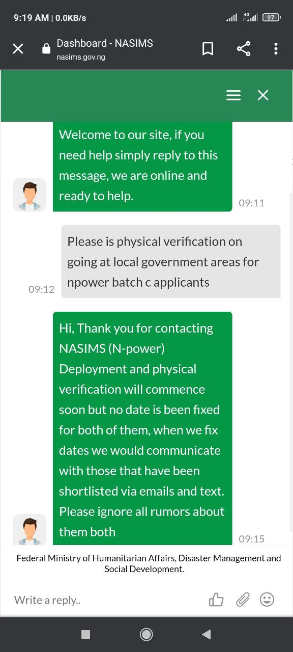 N-power Batch C: Deployment/physical Verification Will Be Communicated Via Email