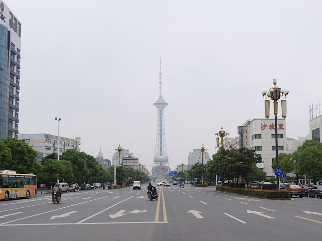 Tiantai Road in Zhuzhou with the Shennon Tower (Zhuzhou Television Tower) in the background