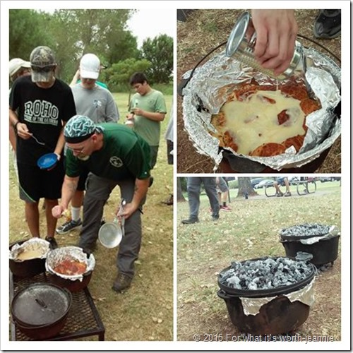 Dutch ovens shown using wood coals and prepared food