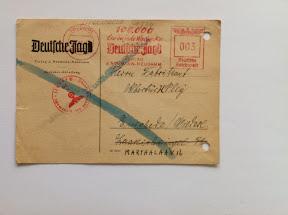 Jachtvergunning 1942 verstuurd naar adres in Enschede.