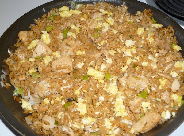Scramble your Egg in a seperate pan. reserve.Then Dice up your Chicken Breasts.