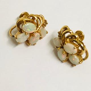 14K Gold & Opal Earrings