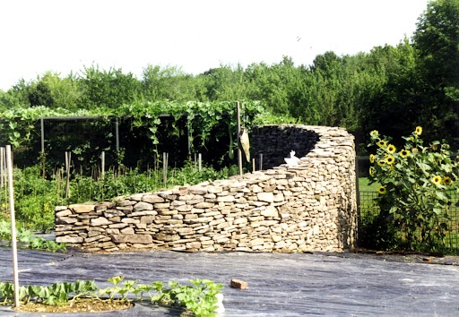 Dramatic stone walls enclose a vegetable garden. Plastic suppresses weeds.