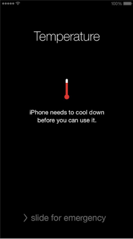 Screenshot of an iPhone that has shut down in the record-breaking Sydney heat wave, 7 January 2018. Photo: Ammy Kwong / Twitter