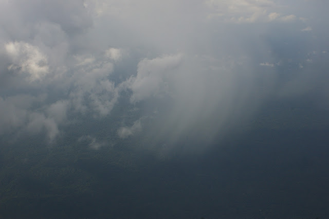 Pluie sur la forêt guyanaise entre Cayenne et Maripasoula. 29 novembre 2011. Photo : J.-M. Gayman