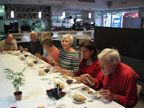 Photo: Lunch at Bubble.  Of course we had good wine with both lunch and dinner.   Our tour had 15 travelers plus the coordinator.  In each region we also had a local guide.