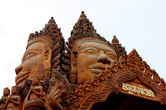 Photo: Year 2 Day 39 - Beautifully Carved Buddhas on Wat in Moung Ruessie