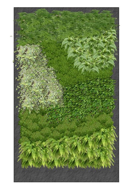 Tercera opción Fotomontaje con planta jardín vertical interior barcelona listado especies leaf.box