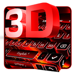 3D Black Red Keyboard