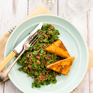 Quinoa And Kale With Baked Ginger Tofu