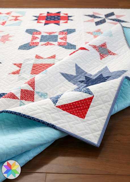 Scrappy quilt binding on a Clear Sky quilt - pattern by Andy of A Bright Corner