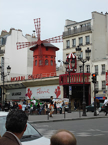 Back down from the cathedral and along the street in front of the Moulin Rouge.
