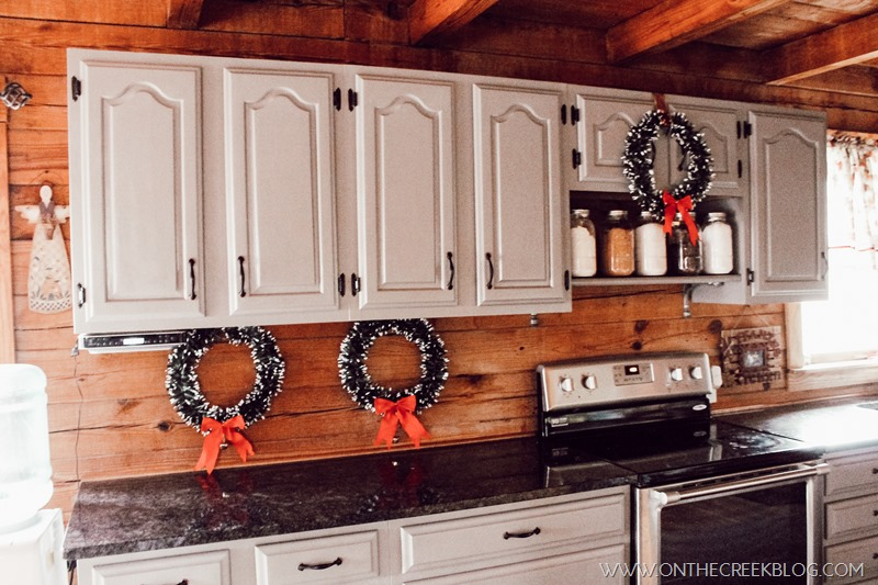 Christmas wreaths in the kitchen