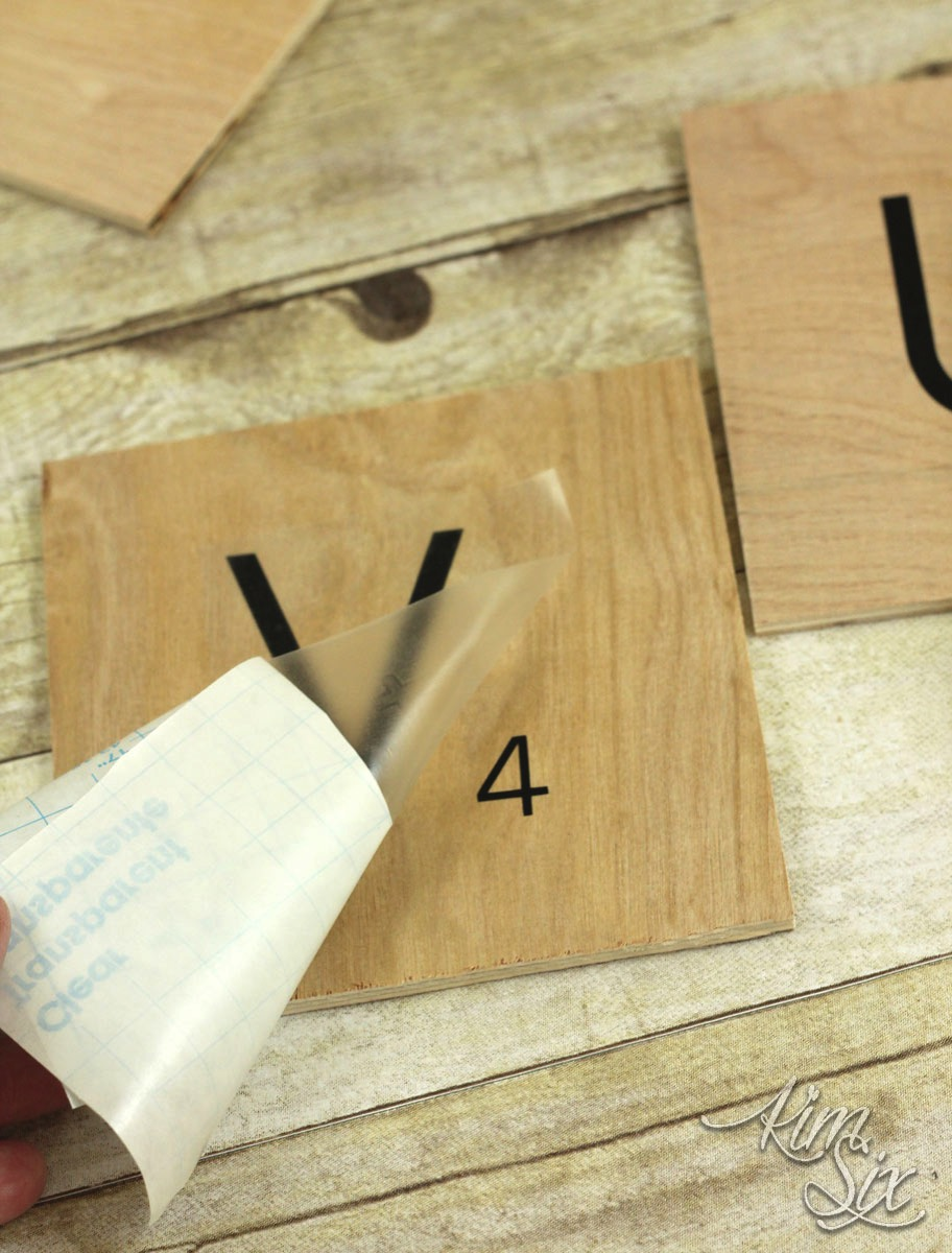 Making plywood scrabble titles with vinyl letters