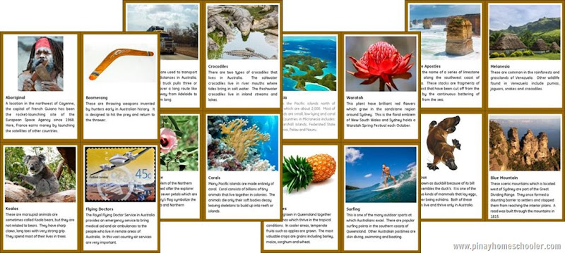 Australia/Oceania Continent People and Culture Fact Cards