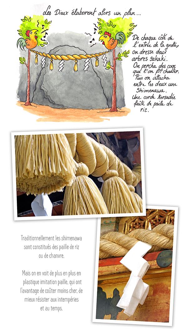 Devant la grotte on attache une Shimenawa, une corde de paille de riz torsadée.