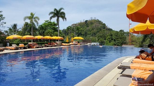 Enjoying the pool at Pakasai Resort and Spa.