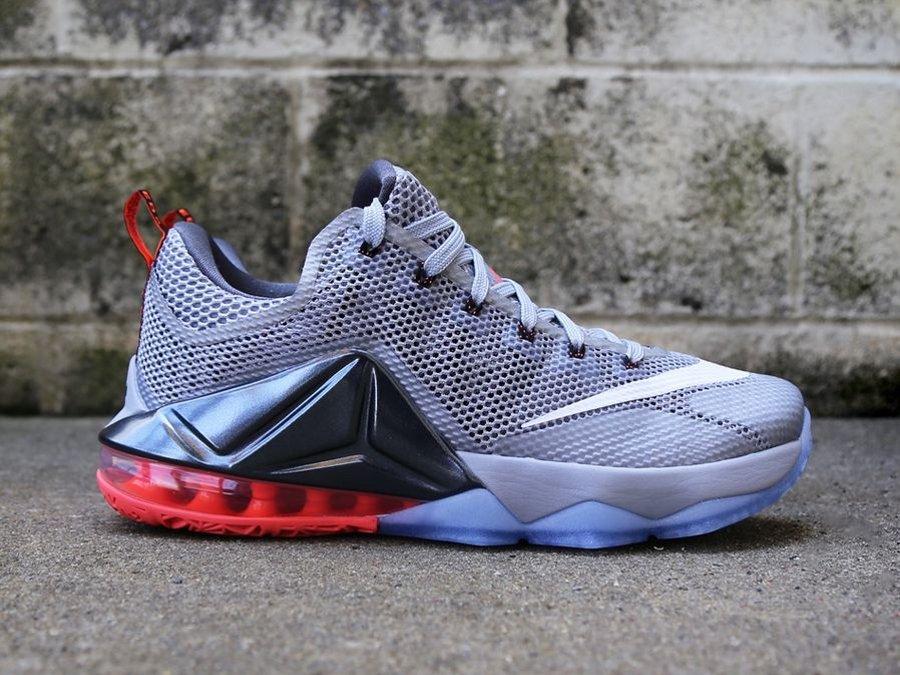 918adba276a9 Release Reminder  Nike LeBron 12 Low Wolf Grey   Hot Lava