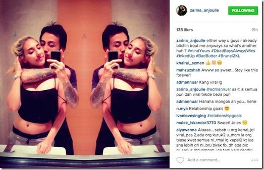 Zarina Anjoulie bergaduh viral di instagram