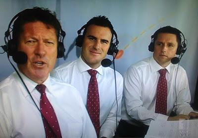 Alex Malcolm (centre), Phil Lamb (left), Brad Wira (right) in the ABCTV commentary box March 31 2012.