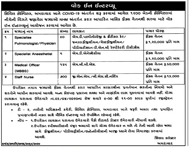 Civil Hospital Ahmedabad 960 Specialist, Medical Officer, Staff Nurse Recruitment 2020