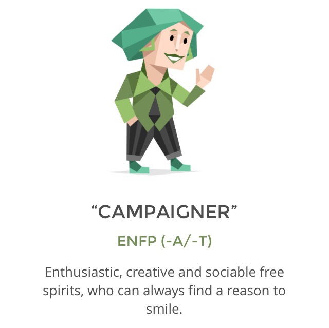 personal experience of an enfp Enfps are drawn to the arts because of their ability to come up with inventive ideas and their want for creating a deeper understanding of the human experience enfp characteristics those who fall under the enfp personality are described as charismatic, creative and enthusiastic.