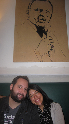 Paulie and I pose above a Frank Sinatra drawing. Apparently Ol' Blue Eyes was a fan of Grimaldi's pizza. I was not.