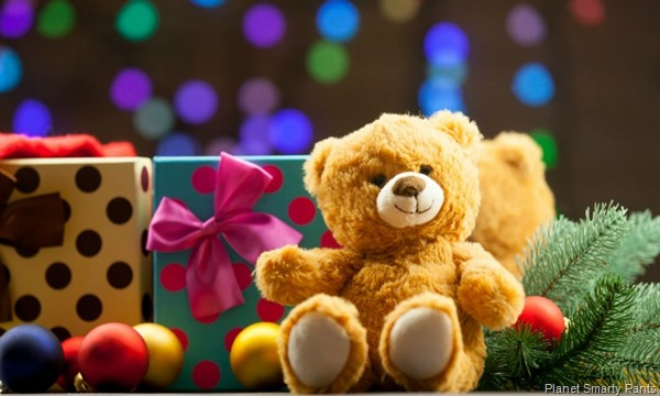 Teddy bear and christmas gifts