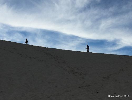 Tom and Joe climbing the dune