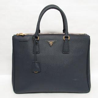 Prada Dark Blue Saffiano Leather Handbag