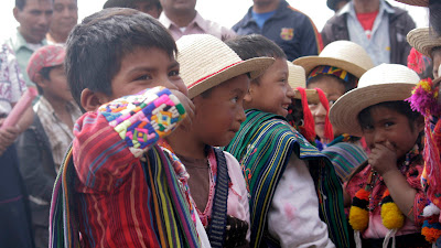 6 and 7 year old children at opening ceremony Sienna Project 2011 Guatemala trip to help build school in Palanquix, Solala, Guatemala. Photos by TOM HART