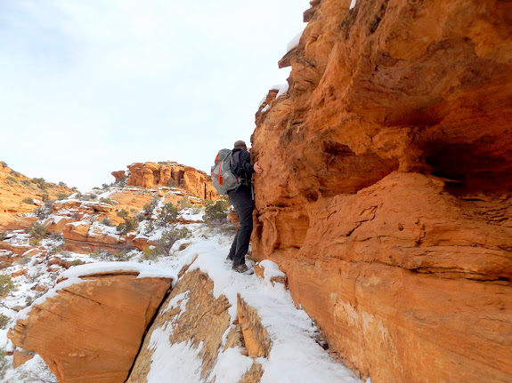 Sketchy traverse in the snow