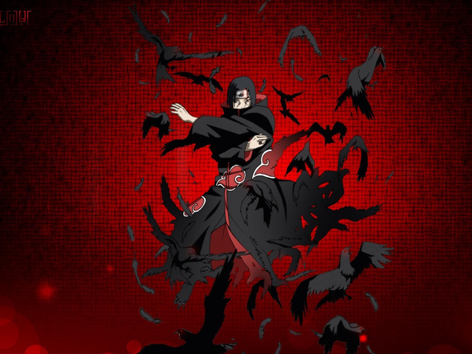 shippuden akatsuki uchiha itachi crows 1600x1200 wallpaper wallpaperItachi Crows Wallpaper